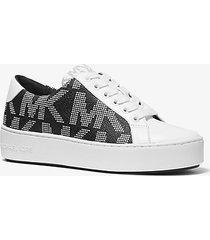 mk sneaker poppy con plateau e logo - bianco ottico/nero (nero) - michael kors