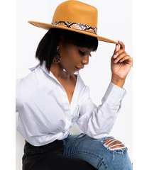 akira cowgirl vibes wide brim hat with snake band