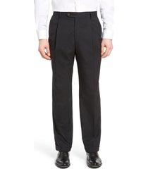 men's berle lightweight plain weave pleated classic fit trousers, size 38 x unhemmed - black