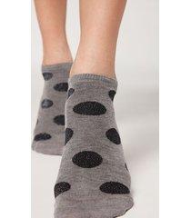 calzedonia patterned glitter no-show socks woman grey size tu
