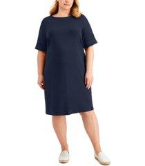 karen scott plus size solid boat-neck dress, created for macy's