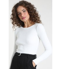 blusa feminina canelada em tricô manga longa decote redondo off white