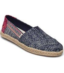 indigo floral hmong print sandaletter expadrilles låga blå toms