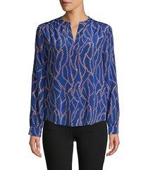 high-low silk blouse