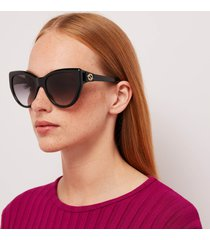 gucci women's 70's fork acetate sunglasses - black/black/grey