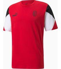 acm ftblculture voetbal-t-shirt voor heren, zwart/rood, maat xs | puma