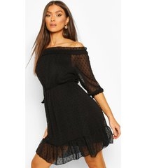 dobby off shoulder skater dress, black