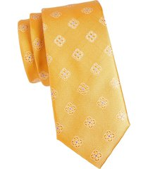 canali men's floral medallion silk tie - yellow