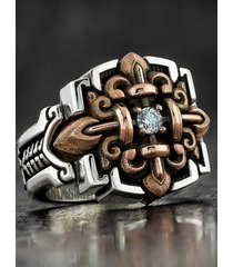 hombres vendimia anillo de cruz estilo punk