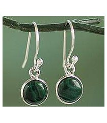 sterling silver and malachite dangle earrings, 'malachite spheres' (india)