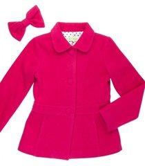 casaco lã laço removível gingga baby e kids pink