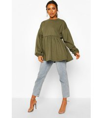 petite puff sleeve smock sweat top, khaki