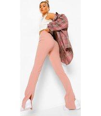 strakke broek met achtersplit, rose