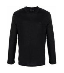 emporio armani blusa de algodão com patch de logo - preto
