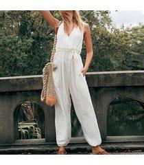zanzea s-5xl de las mujeres de tiras anchas piernas pantalones largos de gran tamaño bib pantalones cargo dungaree plus -blanco