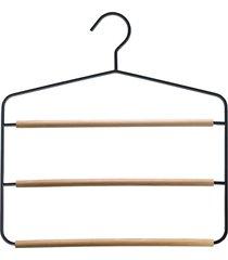 cabide de metal triplo com barras de madeira acácia oikos