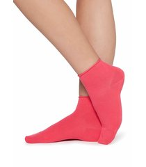 calzedonia - extra short flat-knit bandless cotton socks, one size, pink, women
