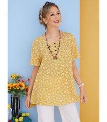 camicetta casual da donna con bottoni o scollo a stampa fiori