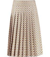 tory burch carmine printed silk pleated skirt