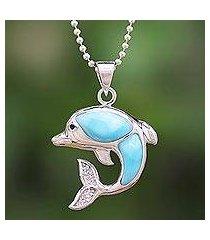 larimar and topaz pendant necklace, 'dolphin leap' (thailand)