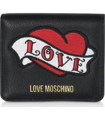 love moschino black genuine leather small womens wallet w/heart patch
