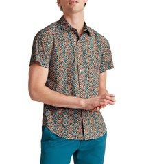 men's bonobos rivie slim fit floral short sleeve button-up shirt, size x-large - red