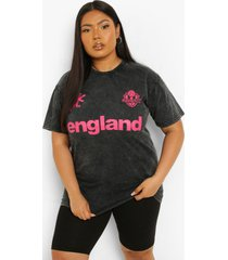 plus acid wash gebleekt england voetbal t-shirt, charcoal