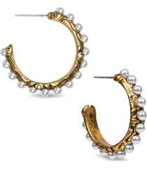 "patricia nash gold-tone medium imitation pearl c-hoop earrings, 1"""