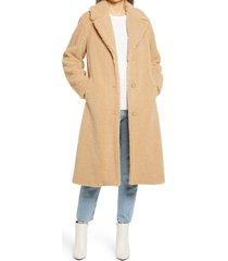 women's sanctuary teddy bear faux shearling coat, size medium - beige
