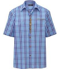 overhemd men plus marine::blauw::wit