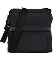 oxford top-zip flap crossbody bag