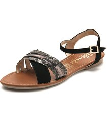 sandalia dama negro plomo piton tellenzi 1964