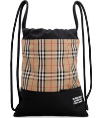 burberry printed canvas drawstring backpack