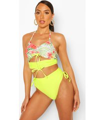 abstract floral ruched crop high waist bikini, lime