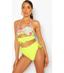abstract floral ruched crop high waist bikini