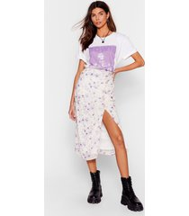 womens growing you off floral midi skirt - lilac
