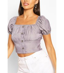 chambray shirring puff sleeve top, blue