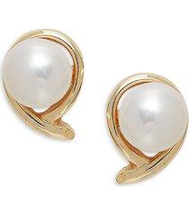 masako women's fancy 14k yellow gold & 7-8mm round freshwater pearl stud earrings