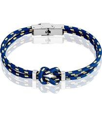 bracciale nodo blu, bianco e giallo in corda e acciaio per uomo