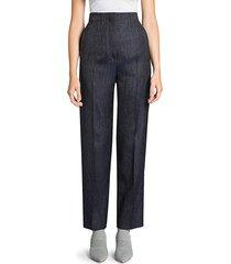 giorgio armani women's silk & wool denim-effect slim pants - night sky - size 46 (12)