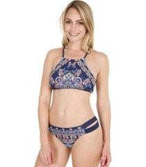 bikini high neck sublimado azul h2o wear
