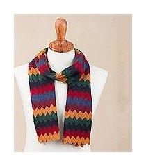 alpaca blend scarf, 'festive zigzags' (peru)