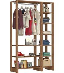 guarda roupa closet 2 peã§as c/ 1 cabideiro marrom - marrom - dafiti