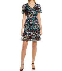 women's sam edelman embroidered puff sleeve a-line mesh dress, size 10 - black