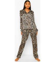 tall satijnen luipaardprint pyjama set met broek, brown