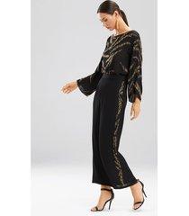 couture tiger stripe beaded pants robe, women's, black, 100% silk, size m, josie natori