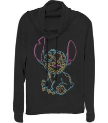 fifth sun women's disney lilo stitch neon stitch fleece cowl neck sweatshirt