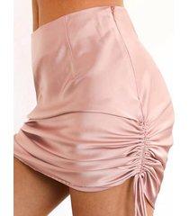 falda de talle alto de satén fruncido con cordón