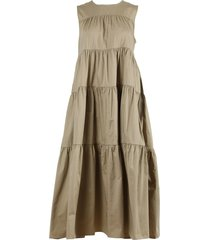 taupe tiered midi dress