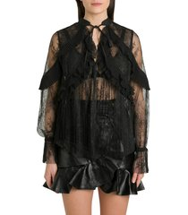 lace blouse with ruffle detail